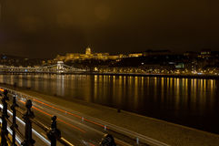 Nightscape with Buda Castle and Chain Bridge, Budapest, Hungary Stock Photos