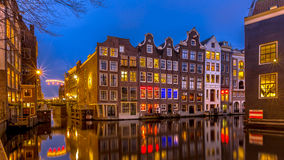 Nightscape of canal houses  Amsterdam Royalty Free Stock Image