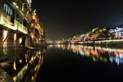 Nightscape of China historic town Royalty Free Stock Image