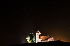 Nightscape with church and ursa major stars Royalty Free Stock Photos