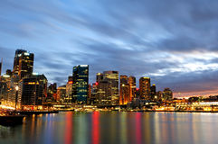 Nightscape of Circular Quay in Sydney. Shot from Sydney Opera stock photography