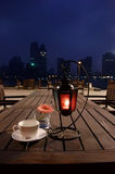 Nightscape and cup. An outdoor inn near the bund Shanghai Royalty Free Stock Photography