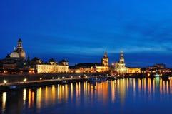 Nightscape de Dresden Fotografía de archivo libre de regalías