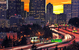 Nightscape de Seattle Images libres de droits
