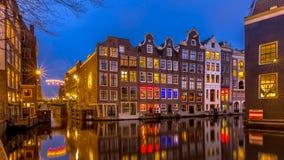 Nightscape del canale alloggia Amsterdam Immagine Stock Libera da Diritti