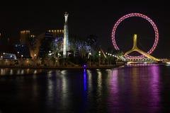 Nightscape della rotella di Ferris immagini stock