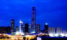 Nightscape des Guangzhou-Porzellans Lizenzfreies Stockfoto