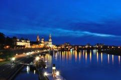 Nightscape di Dresda Immagini Stock