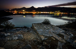 Nightscape a Elounda, Creta Immagini Stock Libere da Diritti