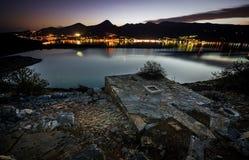 Nightscape at Elounda, Crete Royalty Free Stock Images