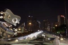 Nightscape em Dallas e em robô do canto fotos de stock royalty free