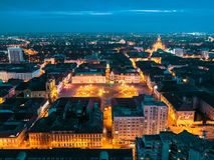 Nightscape of european city Timisoara Royalty Free Stock Photo