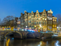 Nightscape grachtengordel Amsterdam Royalty Free Stock Images