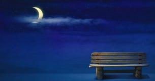 Nightscape ilustracja z blask księżyca zdjęcia stock