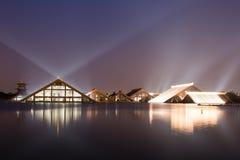 Nightscape lampljus av Guang Fulin Park. Royaltyfri Bild