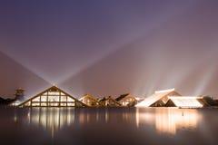 Nightscape lampljus av Guang Fulin Park. Royaltyfria Bilder