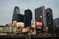 Nightscape of Shinjuku District, Tokyo city, Japan royalty free stock photography