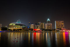 Nightscape of Singapore downtown at Marina bay Stock Images