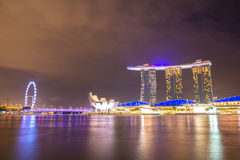 Nightscape of Singapore downtown at Marina bay Royalty Free Stock Photo