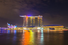Nightscape of Singapore downtown at Marina bay Stock Photo