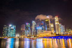 Nightscape of Singapore downtown at Marina bay Royalty Free Stock Images