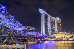Nightscape of Singapore downtown at Marina bay Stock Photography