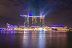 Nightscape of Singapore downtown at Marina bay Royalty Free Stock Photos