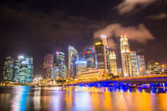 Nightscape of Singapore downtown at Marina bay Royalty Free Stock Image