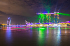 Nightscape of Singapore downtown Royalty Free Stock Images
