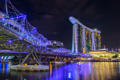 Nightscape of Singapore downtown Royalty Free Stock Photo