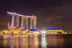 Nightscape of Singapore downtown Royalty Free Stock Photography