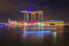 Nightscape of Singapore downtown Stock Photos