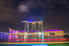 Nightscape of Singapore downtown Royalty Free Stock Photos