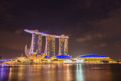 Nightscape of Singapore downtown Stock Image
