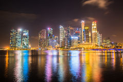 Nightscape of Singapore downtown Stock Photo
