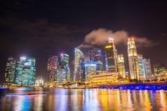 Nightscape of Singapore downtown at Marina bay Stock Image