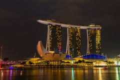 Nightscape of Singapore Marina Bay Sand Stock Image