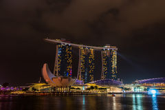 Nightscape of Singapore Marina Bay Sand Royalty Free Stock Photography