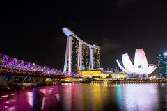Nightscape of Singapore Marina Bay Sand Stock Photos