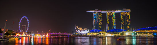 Nightscape of Singapore Marina Bay Sand Royalty Free Stock Image