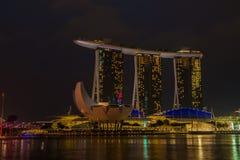 Nightscape of Singapore Marina Bay Sand Royalty Free Stock Photos