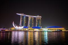 Nightscape of Singapore Marina Bay Sand Royalty Free Stock Photography