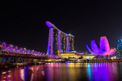 Nightscape of Singapore Marina Bay Sand Royalty Free Stock Photos