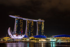 Nightscape of Singapore Marina Bay Sand Royalty Free Stock Images