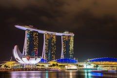 Nightscape of Singapore Marina Bay Sand Stock Photos