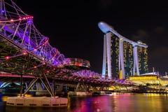 Nightscape of Singapore Marina Bay Sand Royalty Free Stock Photo