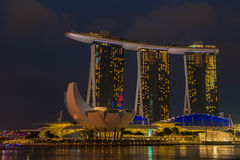 Nightscape of Singapore Marina Bay Sand. Hotel Royalty Free Stock Images
