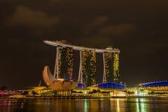 Nightscape of Singapore Marina Bay Sand Stock Photo