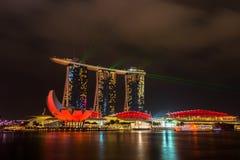Nightscape of Singapore Marina Bay Sand Stock Images