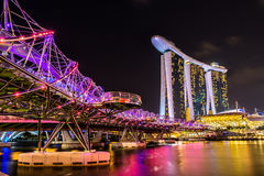 Nightscape of Singapore Marina Bay Sand Stock Image